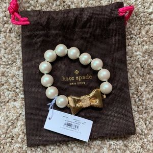 NTW Kate Spade Pearlscent Bracelet with Gold Bow